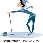smiling young woman plays...   Shutterstock .eps vector #1490649299