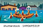 Rescued Flood Survivors Sitting in Inflatable Boat Flat Cartoon Vector Illustration. People Saved from Flooded Buildings. Natural Disaster. Water Covering Land and Houses. Family in Life Vest.