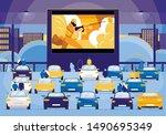 movie night outdoor flat... | Shutterstock .eps vector #1490695349
