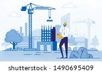 architect holding blueprints... | Shutterstock .eps vector #1490695409