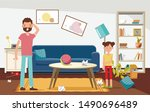 shocked father with his... | Shutterstock .eps vector #1490696489