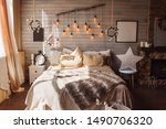 cosy bedroom with eco decor.... | Shutterstock . vector #1490706320