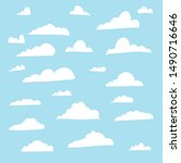flat cloud shape collection... | Shutterstock .eps vector #1490716646