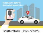 car sharing and mobile city... | Shutterstock .eps vector #1490724893