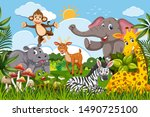 cute set of animals in jungle... | Shutterstock .eps vector #1490725100
