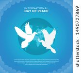 flat peace day background with...   Shutterstock .eps vector #1490727869