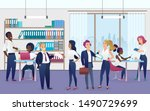 workers in modern office flat... | Shutterstock .eps vector #1490729699