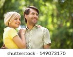 loving couple in park. happy... | Shutterstock . vector #149073170