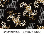 seamless pattern with floral...   Shutterstock .eps vector #1490744300