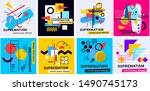 vector collection of geometric... | Shutterstock .eps vector #1490745173
