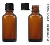 medical bottle. brown glass... | Shutterstock .eps vector #1490775086