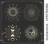 vector illustration set of moon ... | Shutterstock .eps vector #1490783486