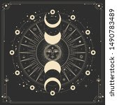 vector illustration set of moon ... | Shutterstock .eps vector #1490783489