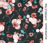 floral seamless pattern with... | Shutterstock . vector #1490812766