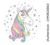 cute beautiful unicorn head....   Shutterstock .eps vector #1490826863