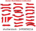 red and black ribbon collection ...   Shutterstock .eps vector #1490858216