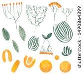 set of watercolor green...   Shutterstock . vector #1490864399
