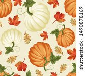 autumn pumpkins with cream... | Shutterstock .eps vector #1490878169