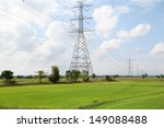 high voltage post on rice field ...   Shutterstock . vector #149088488