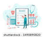 man fills out health insurance. ... | Shutterstock .eps vector #1490890820