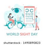 world sight day banner. a team... | Shutterstock .eps vector #1490890823
