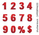 red numbers and symbols 3d... | Shutterstock .eps vector #1490894633