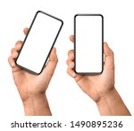Small photo of Man hand holding the black smartphone blank screen with modern frameless design, two positions vertical and rotated - isolated on white background