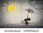 young businessman rides a bike... | Shutterstock . vector #149094623