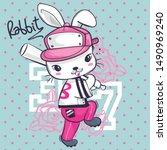 Stock vector cute rabbit cartoon posing with a baseball bat on star background illustration vector 1490969240