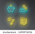 neon banking signs vector... | Shutterstock .eps vector #1490976356