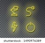 neon electricity signs vector...   Shutterstock .eps vector #1490976389