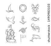 ocean themed hand drawn... | Shutterstock .eps vector #1490983103