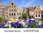 River channel and buildings in Gent, Belgium  - stock photo