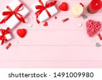 gifts and hearts on a colored... | Shutterstock . vector #1491009980