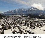 Drone shot above Unterseen in direction to Interlaken and Schynige Platte