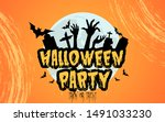 halloween party and gravestone... | Shutterstock .eps vector #1491033230