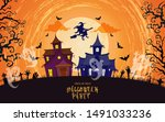 halloween house and trees under ... | Shutterstock .eps vector #1491033236