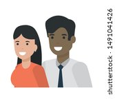 couple of woman and man cartoon ... | Shutterstock .eps vector #1491041426