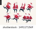 sporting santa set   modern... | Shutterstock .eps vector #1491171569