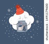 merry cute christmas card... | Shutterstock .eps vector #1491179600