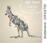 kangaroo. hand drawn vector... | Shutterstock .eps vector #149121710