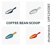 coffee bean scoop icon. thin...