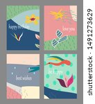 set of creative universal cards.... | Shutterstock .eps vector #1491273629