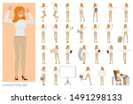set of business woman character ... | Shutterstock .eps vector #1491298133