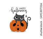 happy halloween greeting card... | Shutterstock .eps vector #1491307316