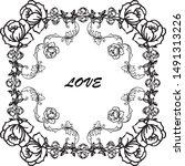 elegant rose wreath frame  for...   Shutterstock .eps vector #1491313226