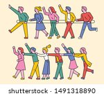 people are playing trains by...   Shutterstock .eps vector #1491318890