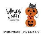 happy halloween invitation card ... | Shutterstock .eps vector #1491335579