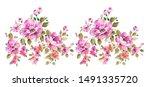 hand painted watercolor flower... | Shutterstock . vector #1491335720
