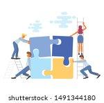 business teamwork concept in... | Shutterstock .eps vector #1491344180